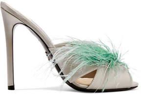 Prada Feather-embellished Satin Mules - Silver