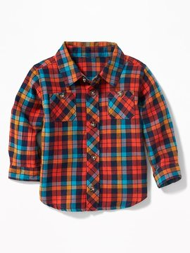 Old Navy Multi-Color Plaid Twill Shirt for Baby