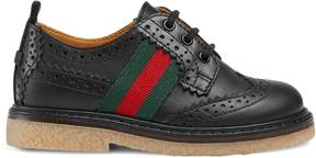 Gucci Toddler leather brogue shoe with Web