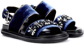 Marni Embellished velvet sandals