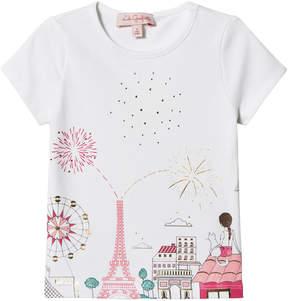 Lili Gaufrette White Paris Fireworks Print T-Shirt