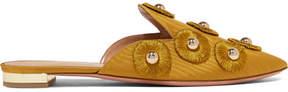 Aquazzura Sunflower Embellished Moire Slippers - Gold