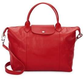 Longchamp Le Pliage Cuir Top Handle Tote - RED - STYLE