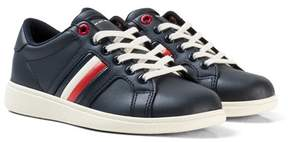 Tommy Hilfiger Navy Branded Leather Trainers