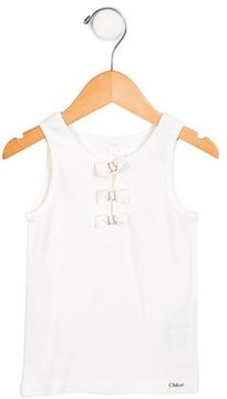 Chloé Girls' Bow-Adorned Scoop Neck Top