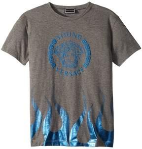 Versace Kids Short Sleeve Medusa Logo T-Shirt w/ Flames Boy's T Shirt