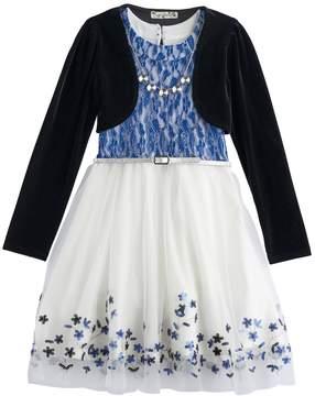 Knitworks Girls 7-16 Velvet Shrug & Lace Skater Dress Set with Necklace
