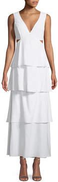 Bardot V-Neck Sleeveless Cutout Tiered Maxi Dress