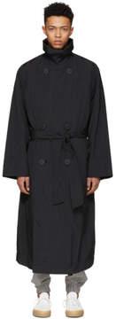 Issey Miyake Black Oversized Taffeta Trench Coat