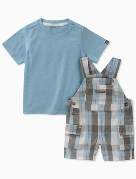 Calvin Klein boys 2-piece t-shirt + plaid overalls set