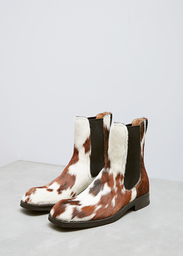 Dries Van Noten Brown Dappled Haircalf Chelsea Boot