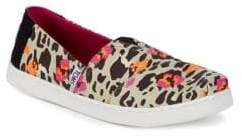 Toms Girl's Alpha Leopard Flower Print Slip-On Shoes