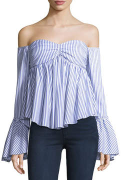 Caroline Constas Max Off-the-Shoulder Bell-Sleeve Striped Poplin Top