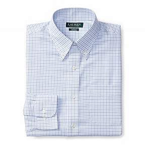 Lauren Ralph Lauren Lauren by Ralph Lauren Blue Grid-Print Mens Size 15 1/2 Dress Shirt