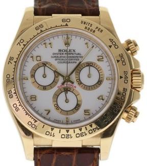 Rolex Daytona 116518 Yellow Gold / Leather 40mm Mens Watch