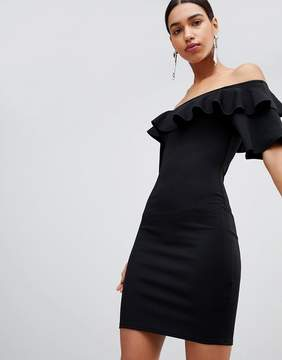 Fashion Union Bodycon Off Shoulder Dress With Ruffles In Crinkle