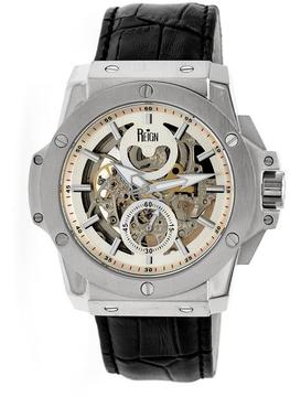 Reign Commodus REIRN4001 Men's Stainless Steel and Black Leather Automatic Watch