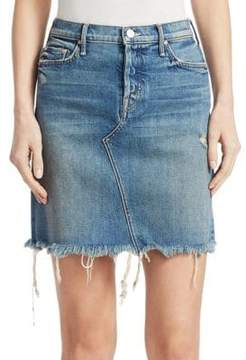 Mother The Tomcat Frayed Denim Mini Skirt
