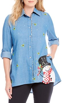 Berek Frosty Button Front Big X-Mas Shirt