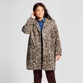Ava & Viv Women's Plus Leopard Print Wool Coat Leopard
