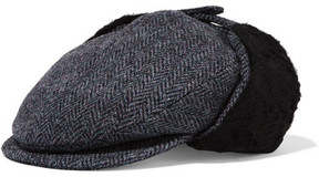 Maison Michel Wyatt Shearling-lined Herringbone Cotton, Wool And Alpaca-blend Hat - Gray