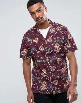 MANGO Man Regular Fit Short Sleeve Shirt In Purple Floral Print