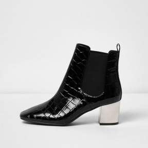 River Island Womens Black crocodile effect chelsea boots