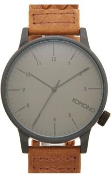 Komono Men's 'Winston' Round Dial Woven Leather Strap Watch, 40Mm