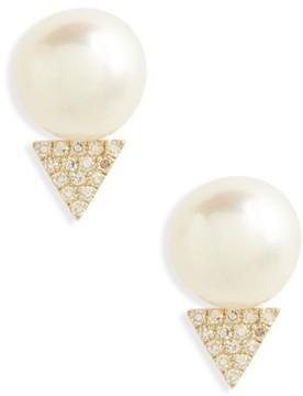 Ef Collection Women's Pearl & Diamond Stud Earrings