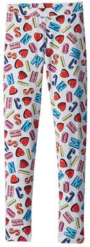 Moschino Kids All Over Logo Heart Print Leggings Girl's Casual Pants