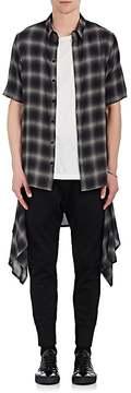 Helmut Lang Men's Zip-Off Hem Ombré Checked Shirt