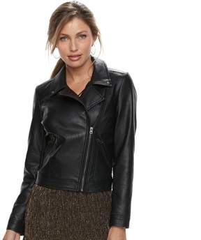 Apt. 9 Women's Faux Leather Moto Jacket