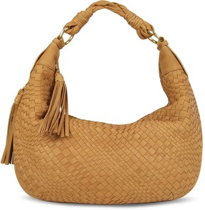 Fontanelli Tan Washed Woven Leather Gusset Hobo Bag
