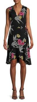 Isaac Mizrahi IMNYC Hi-Lo Floral Ruffle Textured Wrap Dress