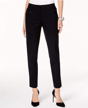 Alfani Faux-Leather-Trim Straight-Leg Pants, Created for Macy's