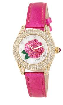 Betsey Johnson Women's A Rose Is A Rose Crystal Shimmer Leather Watch