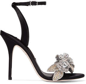Sophia Webster Lilico Crystal-embellished Satin Sandals - Black