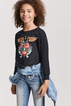 Forever 21 Girls French Terry Bon Jovi Graphic Top (Kids)