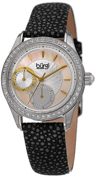 Burgi Mother Of Pearl Dial Ladies Black Polka Dot Leather Watch