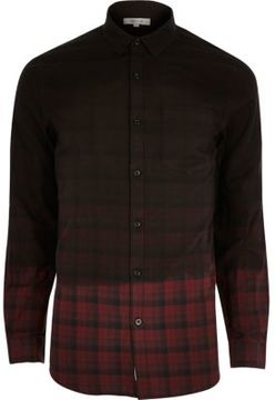 River Island Mens Red dip dye check flannel shirt