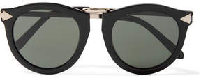 Karen Walker Harvest Round-frame Acetate And Silver-tone Sunglasses - Black