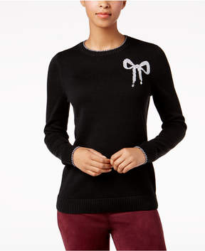 Charter Club Crew-Neck Bow-Graphic Sweater, Created for Macy's