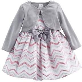 Youngland Toddler Girl Glittery Chevron Dress & Velvet Shrug Set