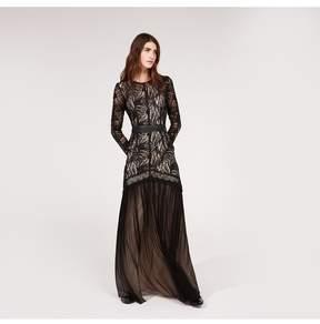 Amanda Wakeley   Black Paisley Lace Tulle Long Dress   L   Black