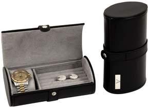 Bey-Berk Monogram Watch and Cufflink Travel Case