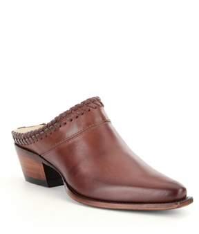 Lucchese Mimi Cowhide Whipstitch Detail Slip-On Block Heel Mules