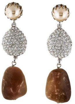 Isaac Mizrahi Crystal & Faux Pearl Drop Earrings