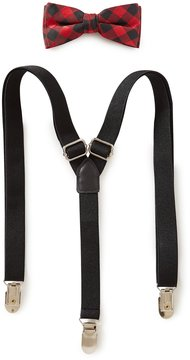 Class Club Checked Bow Tie & Solid Suspenders Set