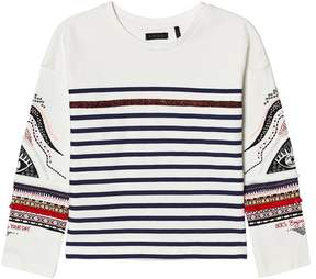 Ikks White and Navy Stripe and Patterned T-Shirt