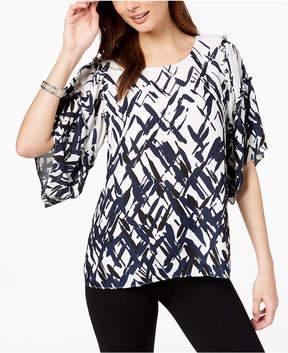 Alfani Printed Elbow-Sleeve Top, Created for Macy's